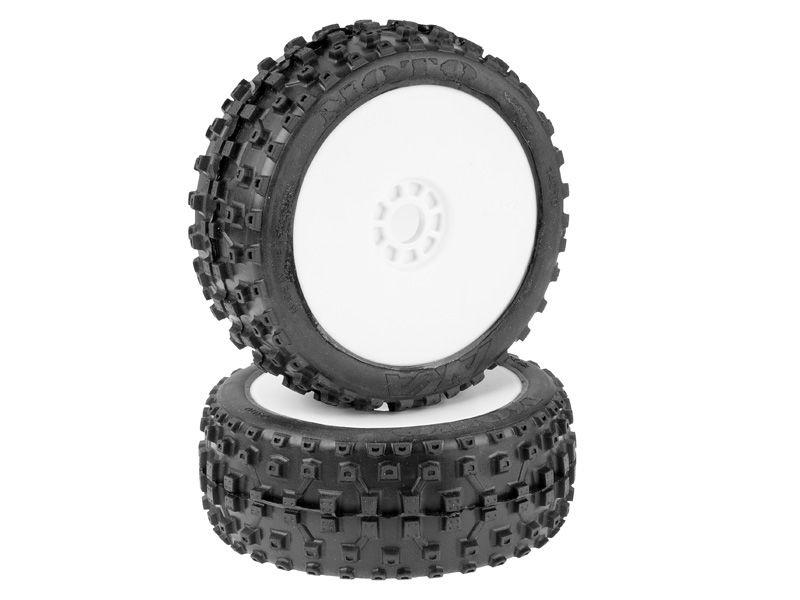 AKA Moto Soft LONG WEAR (2)Komplettrad 1:8 Buggy weiße Felge