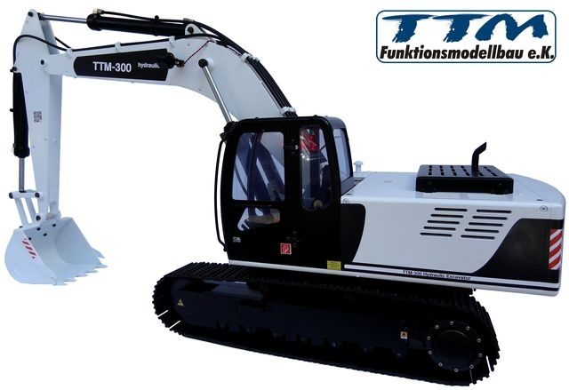 hydraulic excavator RTR black/white made of metal