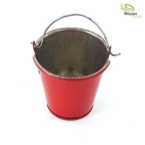1:10 Eimer rot aus Metall mit Henkel