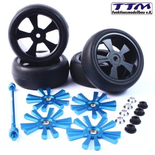 Spinning Räder 1:10 mit Alurotor in blau für Tourenwagen