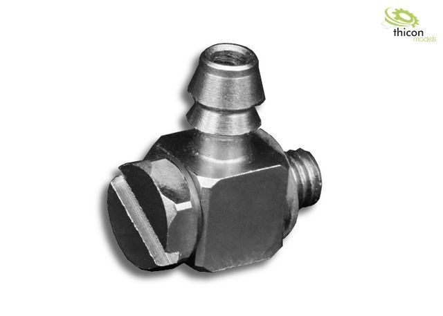 Hydraulik Anschluss-Nippel gewinkelt M3 für 4mm Schlauch