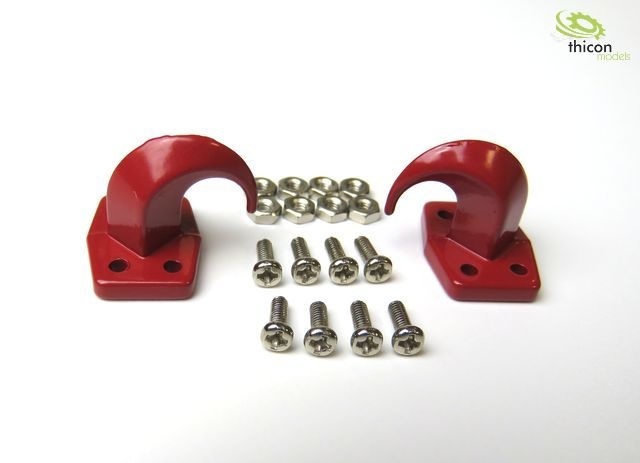 Haken-Kralle mit Montageflansch aus Metall rot 2Stück