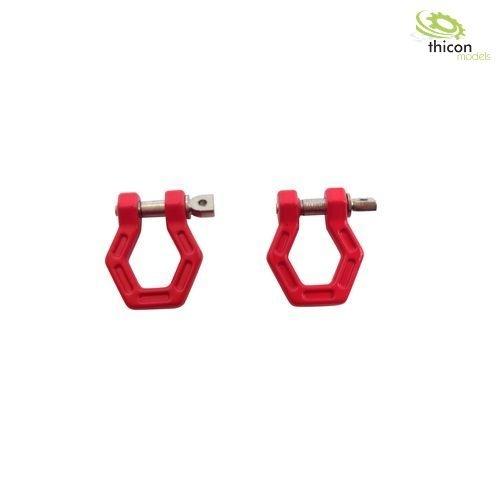Hexagon-Schäkel Metall rot 2 Stück