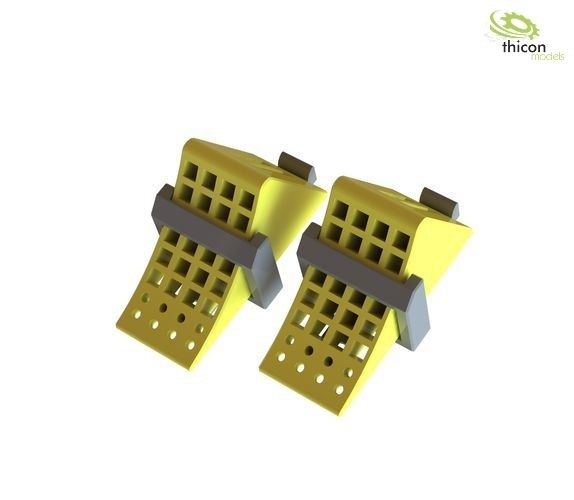 1:14 Wheel chocks yellow with holder black 2 pieces