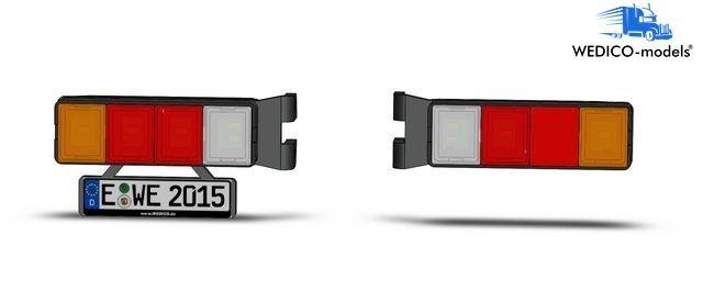 4-Kammer LED-Rückleuchten mit Nummernschild