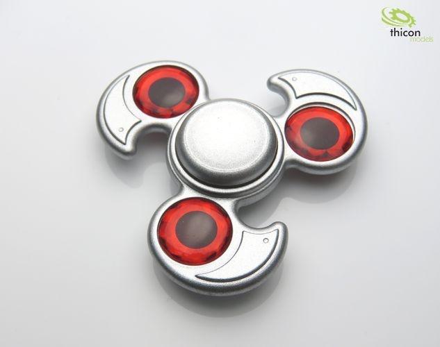 Fidget Spinner Premium Dreiblatt mit Stein rot,  Alu silber