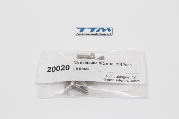 10er Pack SCHRAUBE M3*10  DIN 7985 A2