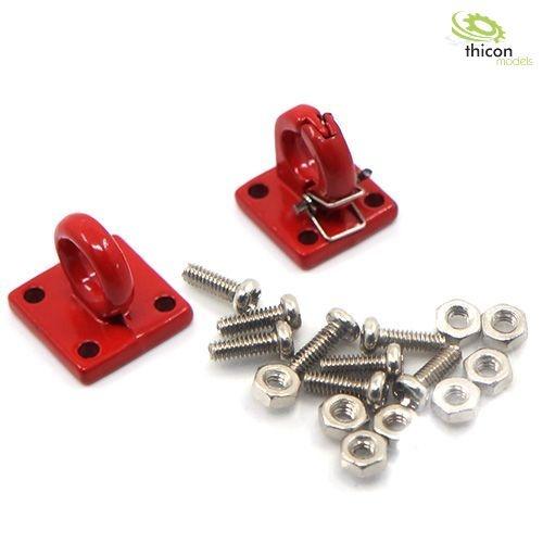 Zugöse mit Kupplung Metall rot Set